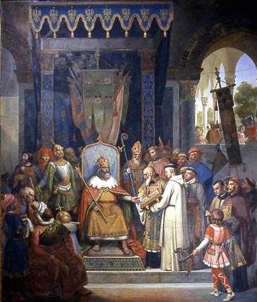 Kaiser Charlemagne und Alcuin