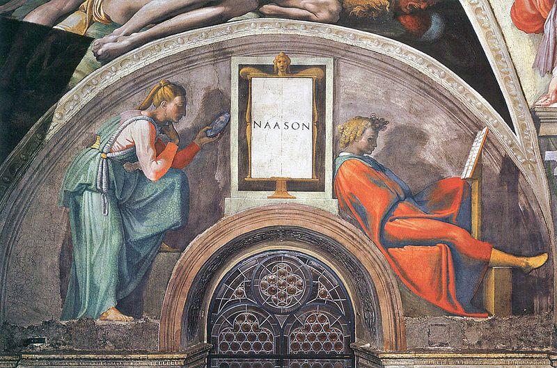 Szene von dem Decke der Sixtinischen Kapelle.