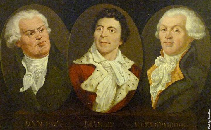 Georges Jacques Danton, Jean Paul Marat & Maximilien de Robespierre