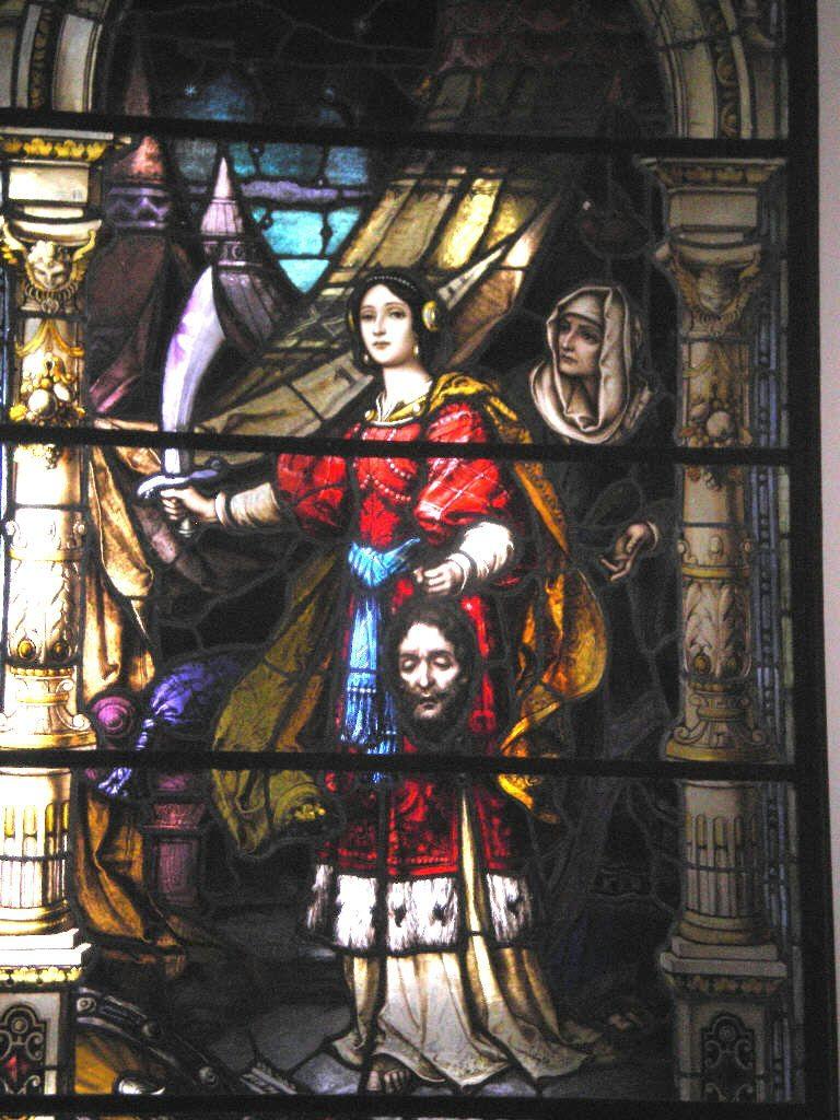 ...des unerschrockenen Einsatzes für die Sache Gottes. Judith mit dem Haupt des Holofernes, Sankt Théodore Guérin Shrine, Terra Haute, Indiana, USA.